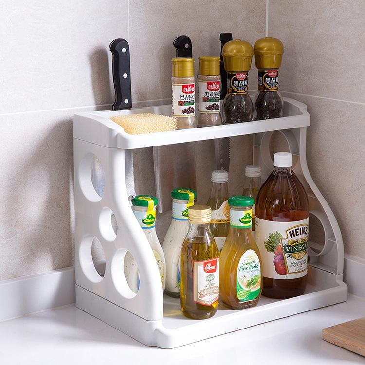 恩益 双层厨房置物架调味料收纳架落地塑料刀架调料架调味品架子
