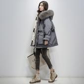 派克宽松大毛领白鸭绒外套加厚韩版 羽绒服女中长款 2019冬季新款图片