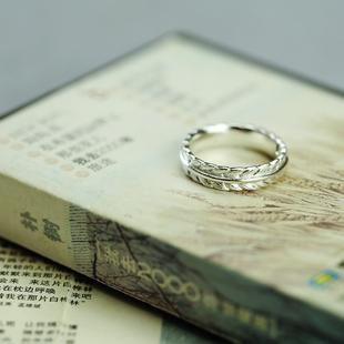 驯养 戒指小王子系列简约S925开口纯银麦穗情侣对戒女男首饰