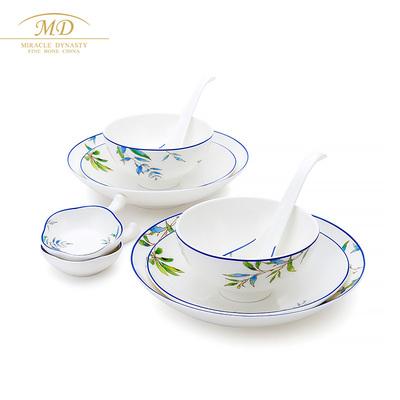 玛戈隆特10头鹦鹉骨瓷餐具套装2-4人份家用套装碗盘碟勺礼盒装