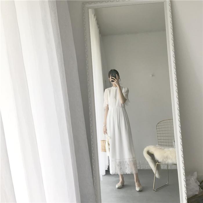 「MICOOS」超薄立领花边蕾丝雪纺仙女收腰白色连衣裙温柔长裙女夏图片
