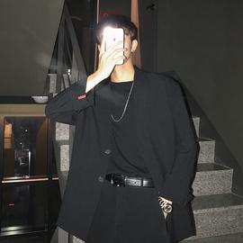 港风黑色西服便服单西男宽松薄款外套韩版潮流ins网红休闲西装男图片