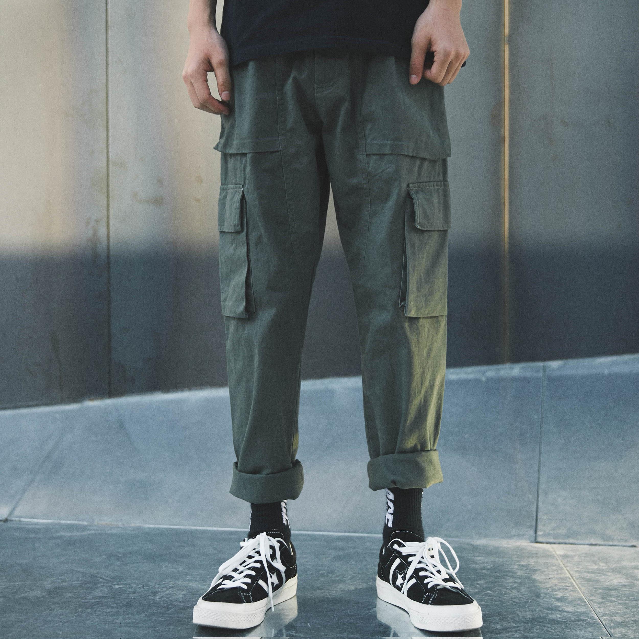 四季绿色长裤
