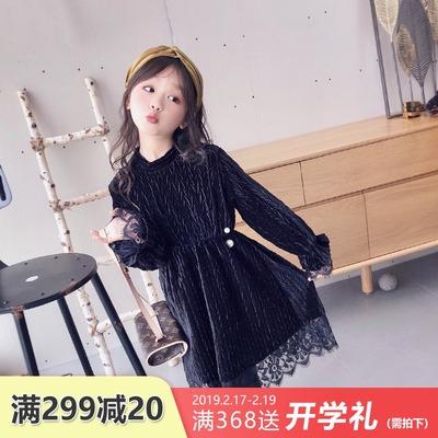 女童连衣裙2018新款加绒加厚公主裙儿童中大童冬裙洋气蕾丝裙子冬