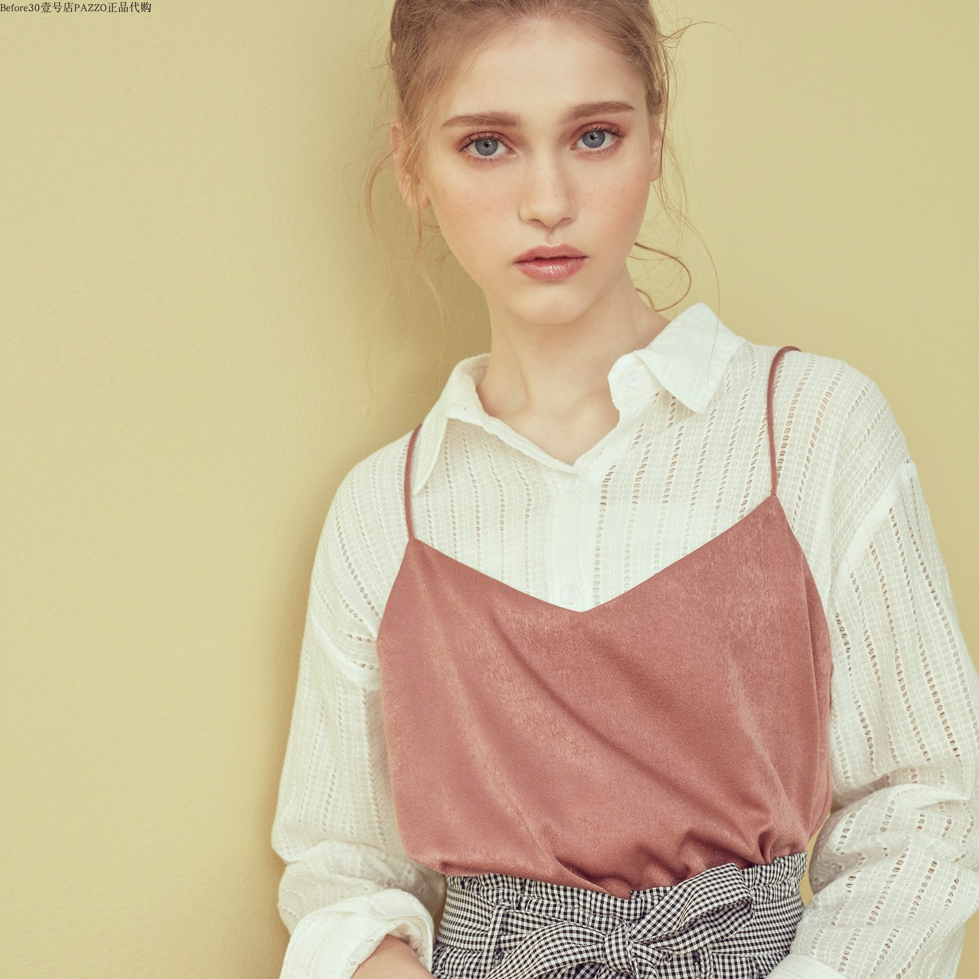 PAZZO SWEET P40004978 好感女孩坑条纹理衬衫