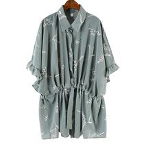 碎花雪纺上衣2019新款系带抽绳收腰蝙蝠衫夏季气质大码短袖衬衫女