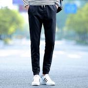 日系男春夏新款纯棉长裤直筒修身裤子春季男时尚修身休闲九分裤潮