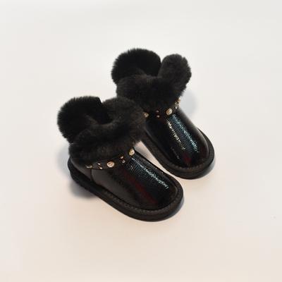 2018冬季新款儿童韩版兔毛雪地靴 女童珍珠铆钉保暖短靴公主棉靴