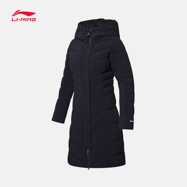 李宁长款羽绒服女士新款训练系列保暖连帽冬季白鸭绒运动服