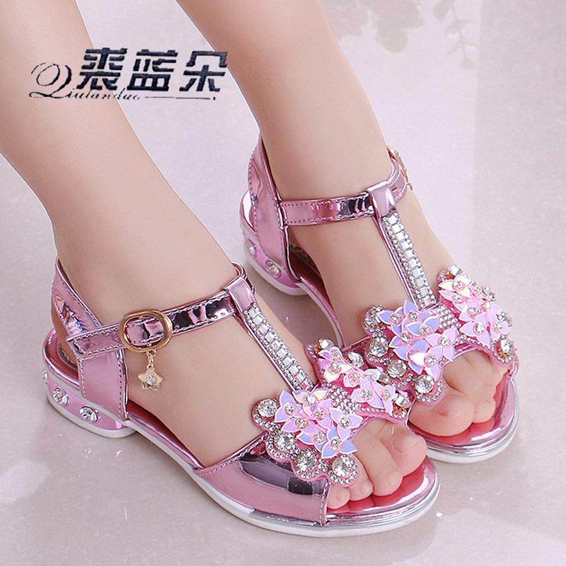 女童凉鞋2019新款韩版夏季时尚公主鞋中大童小女孩儿童高跟鞋软底