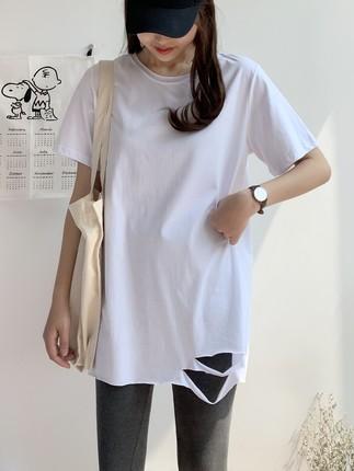 2019夏季纯棉短袖白色中长款t恤女破洞夏新款韩版宽松半袖上衣潮