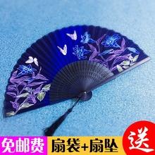 扇子折扇中国风古典绫绢男式女式古风复古舞蹈礼品演出夏季和风扇