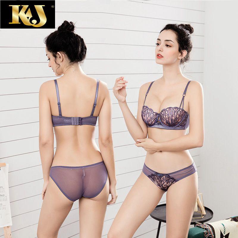 法国KJ文胸套装贝壳1/2半杯内置聚拢插片内衣女小胸蕾丝性感胸罩