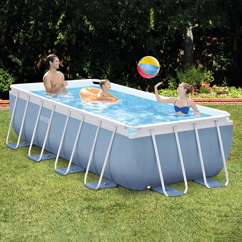 INTEX支架游泳池加厚儿童家用大型泳池可折叠水池养鱼池商用成人