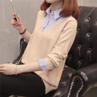 襯衫領針織衫假兩件套秋裝2018新款套頭毛衣女寬松長袖學生打底衫