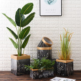 Cement Nordic marble flower pot square round black and white texture large living room succulent potted flower pot