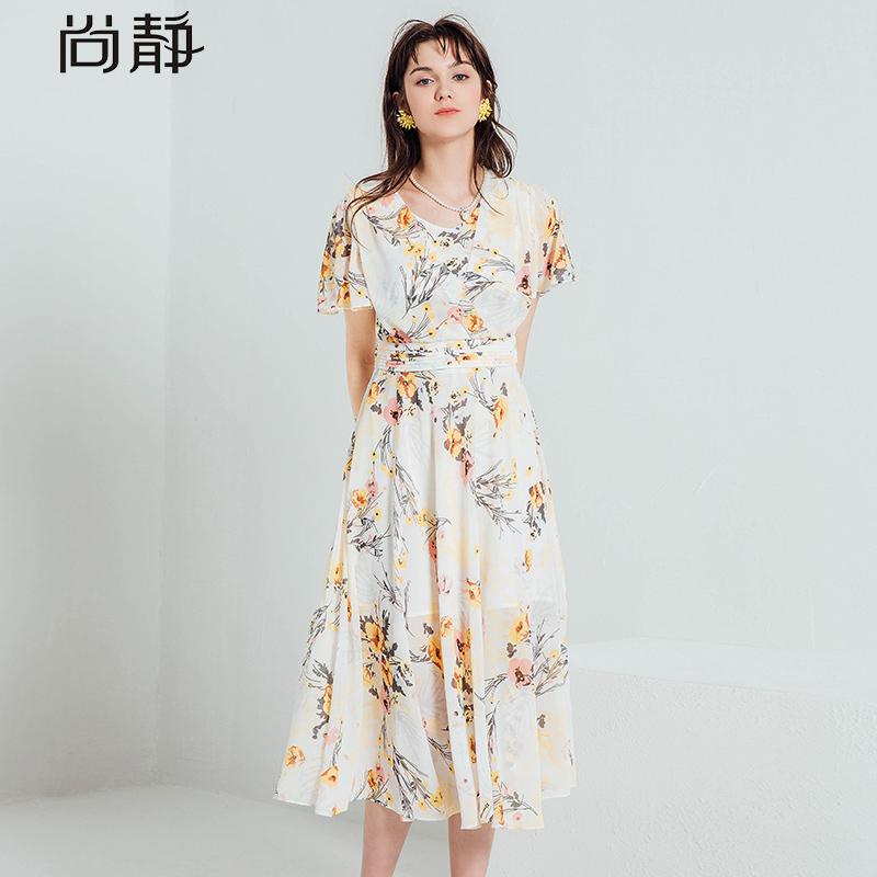 短袖印花长裙