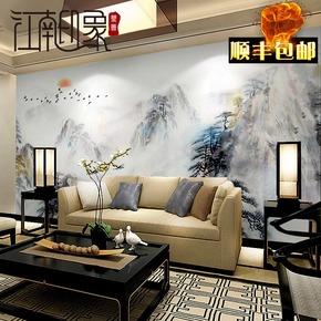 现代简约电视背景墙壁纸客厅电视墙布中式水墨山水无纺布壁画无缝