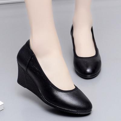真皮坡跟浅口单鞋工作鞋女黑色皮鞋职业空姐上班工鞋高跟休闲女鞋