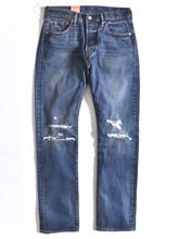专柜正品 Levis 501直筒 洗水做旧破洞男牛仔裤 00501-2484