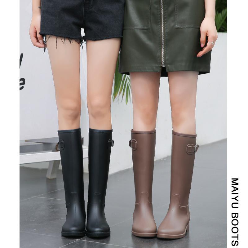 MAIYU 轻量简约时尚雨鞋女成人雨靴防水高筒水靴防滑胶鞋女士水鞋