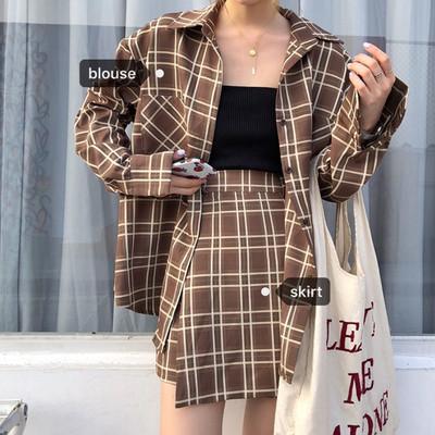 鬼马少女套装~韩国chic复古学院风格纹衬衫外套+百搭高腰半身裤裙