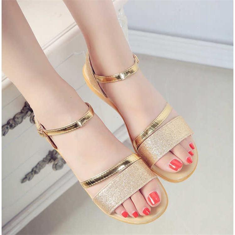 【简妮璐】夏新款女鞋韩版平底坡跟一字扣亮片露趾学生沙滩凉鞋女