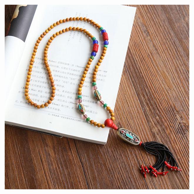 释·尼泊尔进口手工转运珠项链长链毛衣链 黄金檀木朱砂古法琉璃
