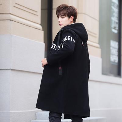 初延秋冬中长款呢子大衣男士韩版毛呢外套男装休闲落肩风衣潮连帽