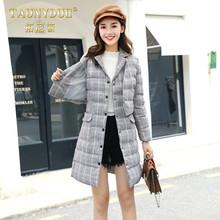 TAUNYDUE棉服套装女新款冬季宽松格子棉袄棉衣面包服中长款JB925