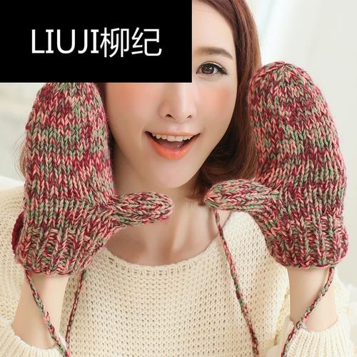 柳纪纯手工冬季手套女新款韩版可爱全指加厚保暖针织纽扣毛线学生