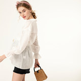 SELLYNEAR Pregnant Women's Shirt 2009 Summer New Fashion Small Standing Collar Elastic Flare Sleeve White Top