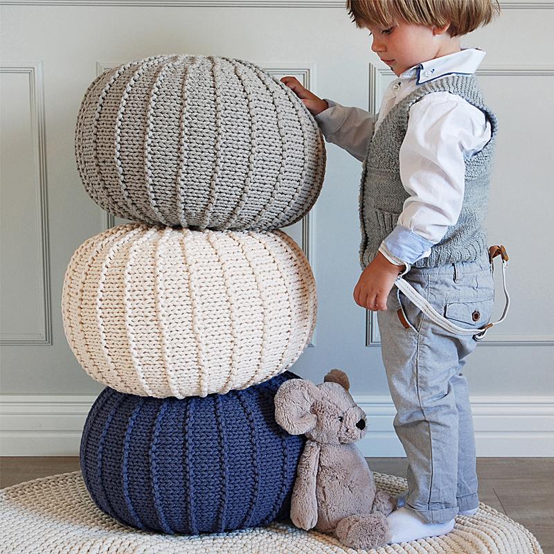 云房子 纯手工编织儿童凳创意客厅软凳现代休闲凳沙发搁脚凳坐墩