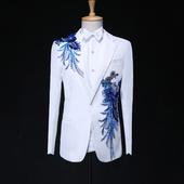 男士 大合唱礼服成人表演服装 主持人歌手男演出服 新款 亮片西服套装图片