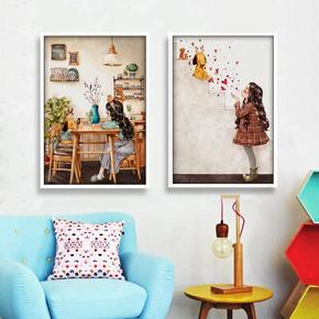 2018美式乡村十字绣新款线绣客厅小幅卧室画森林女孩儿童卡通可爱
