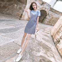 2019新款夏装夏季中长款宽松条纹短袖吊带连衣裙假两件洋气裙子女