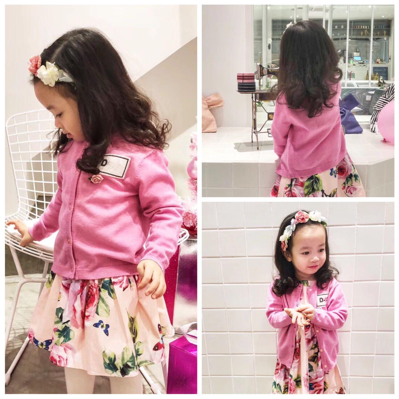 女童粉色开衫毛衣