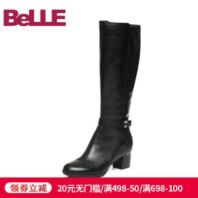 清仓特卖-百丽商场油皮牛皮女粗跟高筒长靴BFN76DG6