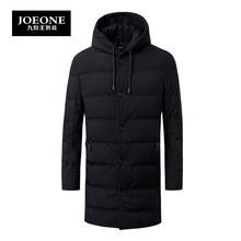 九牧王男装羽绒服冬季厚款保暖中年连帽黑色中长款加厚羽绒服图片