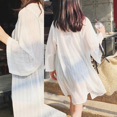 沙滩防晒衣女式长袖夏季韩版中长款雪纺开衫海边度假宽松薄款外套