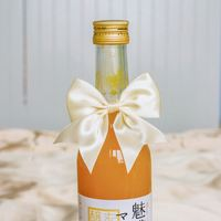 Satin ribbon handmade bow, wide rubber band behind, can be placed directly in the bottle. Gifts must be rice/powder/blue