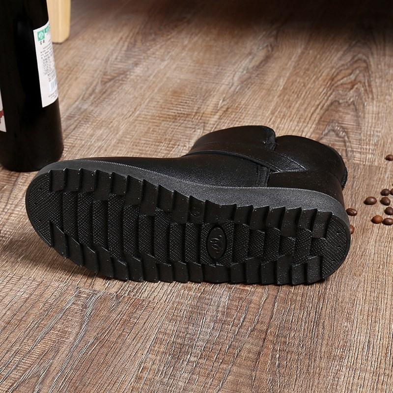 冬季男士平新款PU皮保暖防滑耐磨 雪地靴 低筒靴靴子 男靴 休闲批