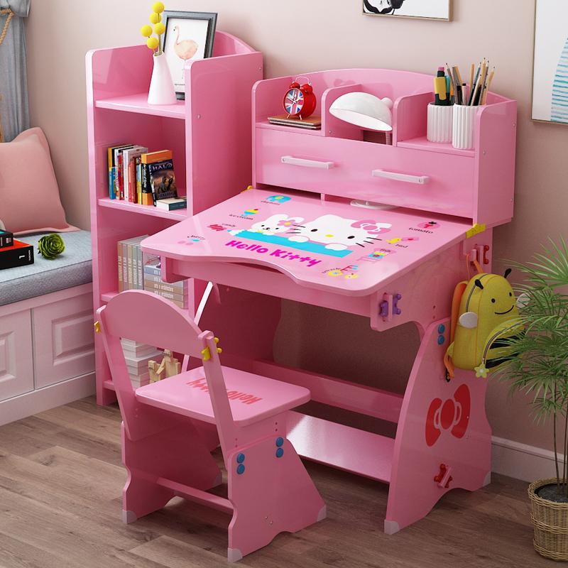 儿童学习桌椅套装简约女孩男孩书桌书柜组合小学生课桌写字台家用
