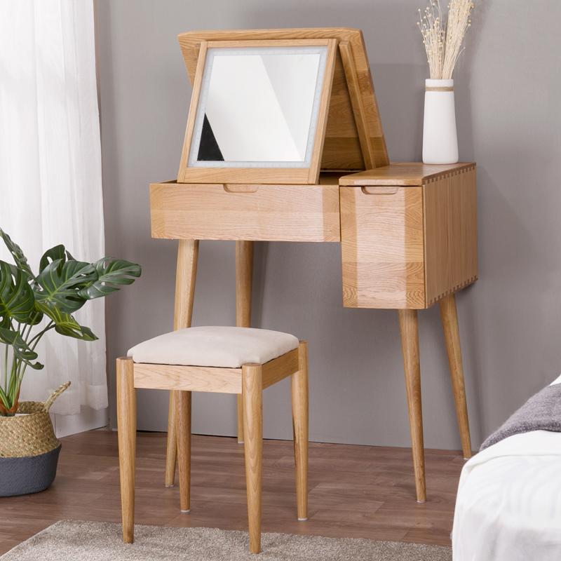 贝欣居翻盖带灯梳妆台镜子可隐折叠 卧室小迷单人多功能ins化妆台