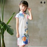 Hangzhou new silk silk cheongsam summer girls female children big children costume Chinese style children's dress