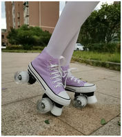 Flash wheel canvas shoes double row skates flash wheel flash wheel ice rink special pu roller skates roller skates
