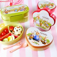 幼儿园便当盒保鲜盒便携分格宝宝上学水果盒带水果叉水果餐盒小巧