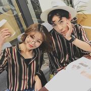 2018夏季韩版男女款情侣青春流行条纹中袖衬衫七分袖清晰港仔衬衣