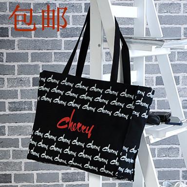 出口日本纯棉帆布单肩包黑色带拉链女包帆布手提包袋购物袋环保袋