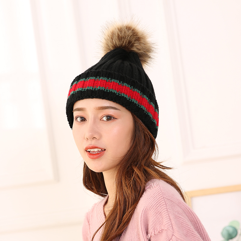 毛球毛线帽女